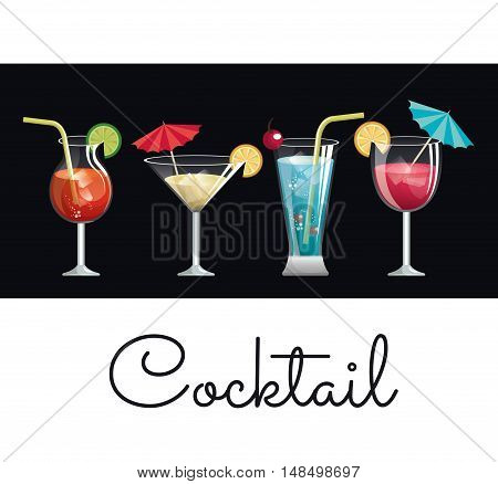 collection cocktail glass umbrella and lemon design vector illustration eps 10
