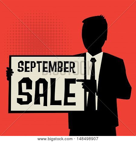 Man showing board business concept with text September Sale vector illustration