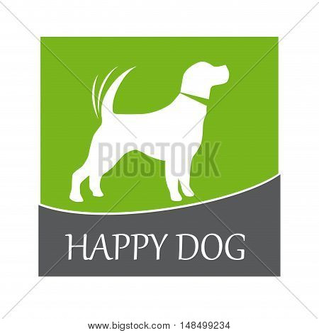 Vector sign happy dog in green  isolated illustration