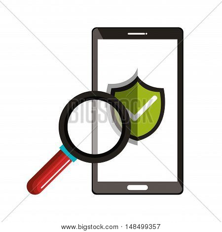 smartphone checkmark with search design vector illustration eps 10
