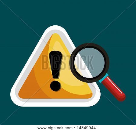 warning symbol and search graphic isolaed vector illustration eps 10