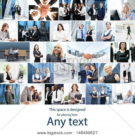 Collection of photos about business with place for any text.
