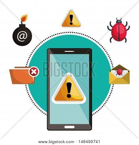 concept virus smartphone warning design vector illustration eps 10