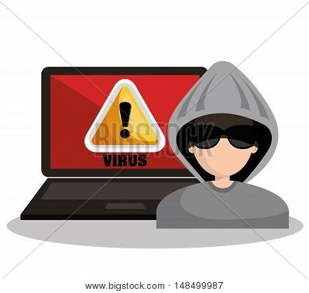 warning virus hacker laptop graphic vector illustration esp 10