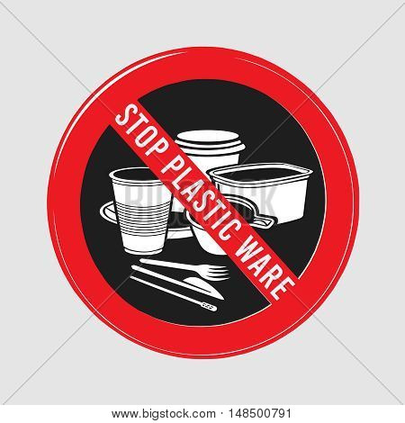 vector stop sign, ban plastic dishes, fork, knife, plate, konteynet, a cup of coffee and stick, interfere with sugar