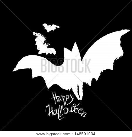 Big bat and happy halloween big bats on a black night background Happy Halloween vector graphic illustration poster