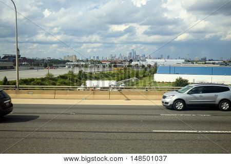 view of downtown from the road on the outskirts of Philadelphia