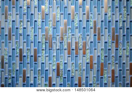 Background of blue and gold glass mosaic