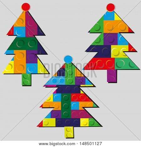 Christmas tree set of bright the gadget Drawing for the New Year holiday three different design of the tree of designer  plastic eps10 stock vector illustration
