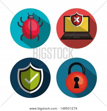 set icons security system technology design vector illustration eps 10