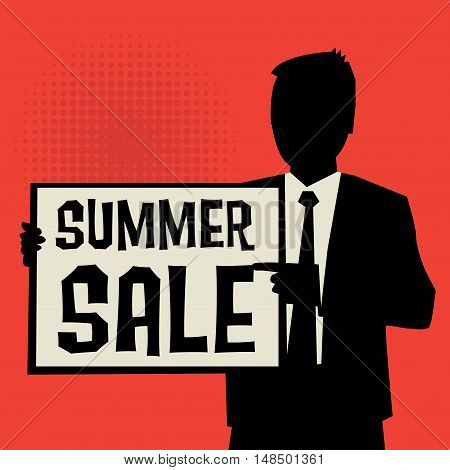 Man showing board business concept with text Summer Sale vector illustration