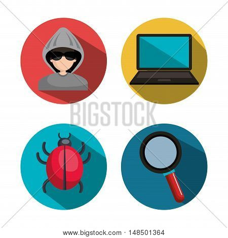 set collection virus hacked system vector illustration eps 10