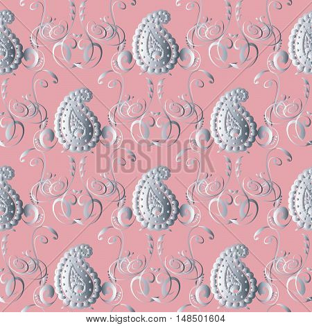 Elegant vector floral seamless pattern background  llustration with silver decorative 3d Paisley ornaments on the light pink background