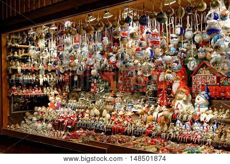 VIENNA AUSTRIA - NOVEMBER 21 2013: Store at Christmas Market near old city hall. The Vienna Christmas Market with Christmas toys and gifts.