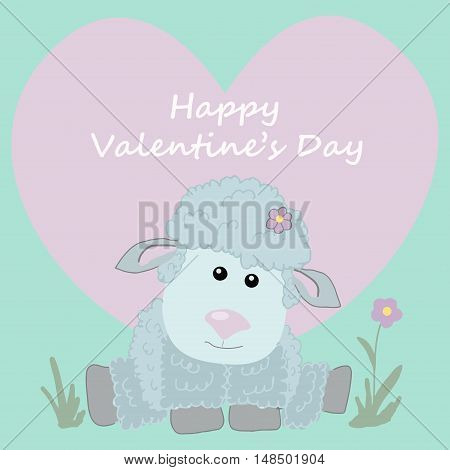 Postcard happy Valentines day. Cute sheep. heart.