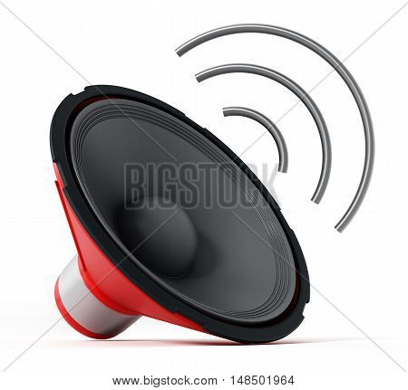 Speaker with abstract wave isolated on white background. 3D illustration.