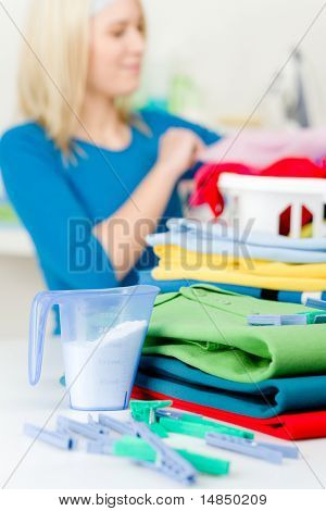 Laundry Clothespin - Woman Folding Clothes
