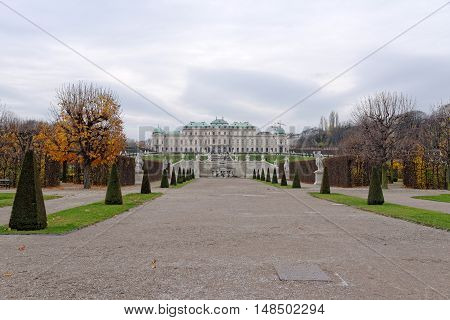 VIENNA AUSTRIA - NOVEMBER 23 2013: The Upper Belvedere Palace with gardens in the foreground.The Baroque palace was built as a summer residence for Prince Eugene of Savoy.
