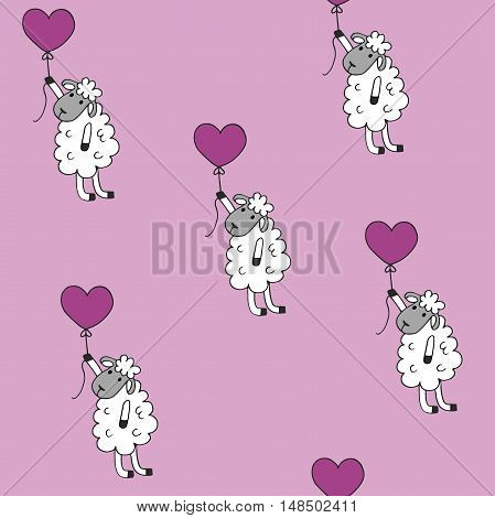 high quality original trendy vector Seamless pattern sheep with heart baloon colored for babyroom