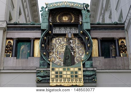 Ankeruhr Clock was designed by Franz Matsch between 1911 and 1917 for the prospering Anker insurance company in Vienna Austria.