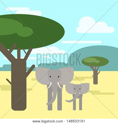 Elephant mother and baby together in the savanna . Animals of Africa. Vector illustration of a flat