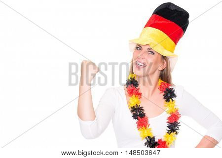 German soccer fan in front of white background