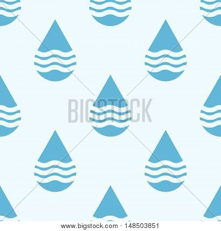 Blue vector water drops seamless pattern. Rain background abstract illustration