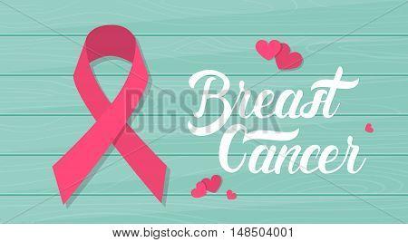 Pink Ribbon Breast Cancer Awareness Wooden Texture Flat Vector Illustration