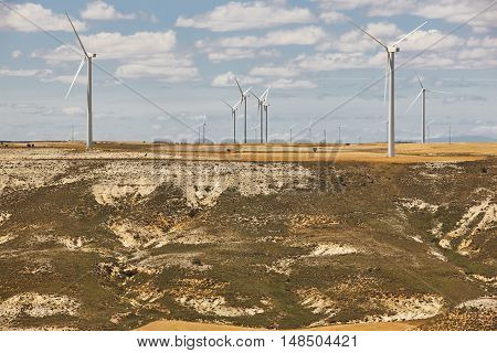 Wind turbines in the countryside. Clean alternative renewable energy. Horizontal