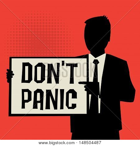 Man showing board business concept with text Don't Panic vector illustration