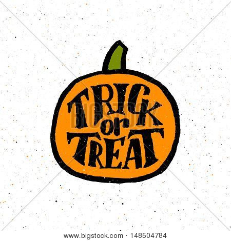 Vintage poster with hand lettering text for Halloween Party on flat orange pumpkin. Trick or Treat holiday tradition.