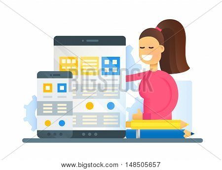 Web Page Optimization - vector modern flat design illustration with mobile devices and smiling female