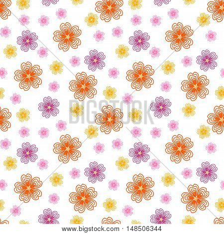Cute seamless pattern with many repeating different sized autumn flowers isolated on the white (transparent) background. Vector illustration eps 10