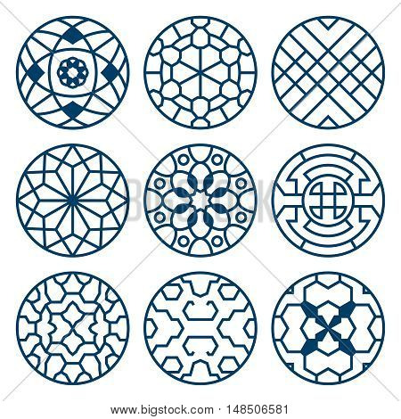 Chinese, korean traditional vector repeat symbols, bathroom decoration. Set of round elements with pattern illustration