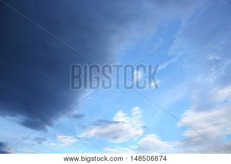 blue sky and raincloud dark motion beautiful soft cloud white in nature for background