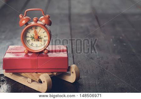 Composition With Vintage Alarm Clock. Toned Photo