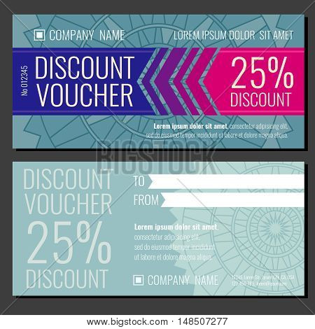 Modern vector gift coupon card voucher template with discount for buy illustration