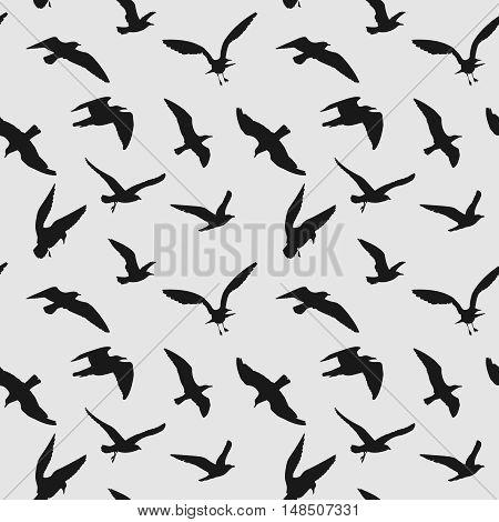 Vector seamless pattern with flying birds. Black raven silhouette illustration