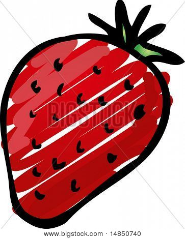 Sketch of a strawberry. Hand-drawn lineart look illustration rough sketchy coloring