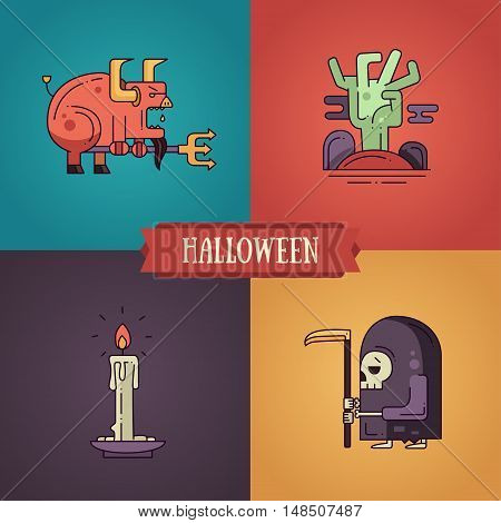 Halloween - modern vector line flat design characters icons set. Funny scary devil, zombie hand, candle, grim reaper