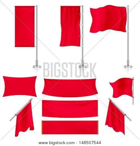 Realistic red advertising fabric textile banners and flags vector set. Horizontal pennant stretch illustration