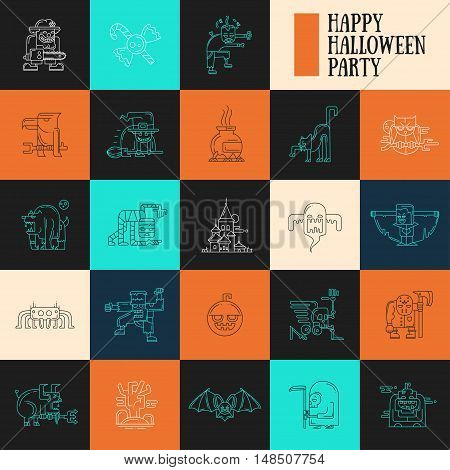 Halloween - modern vector line design characters icons set. Funny scary clown, candies, zombie, witch, cemetery, vampire, werewolf, mummy, ghoul, devil ghost skeletom spider pumpkin raven cat