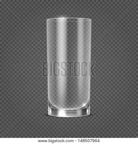 Vector empty realistic drinking glass on transparent checkered background. Clean glassware object illustration