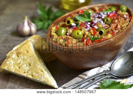 Rustic Mediterranean Eggplant Salad.