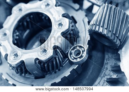 Machinery concept. Set of various gears closeup as background