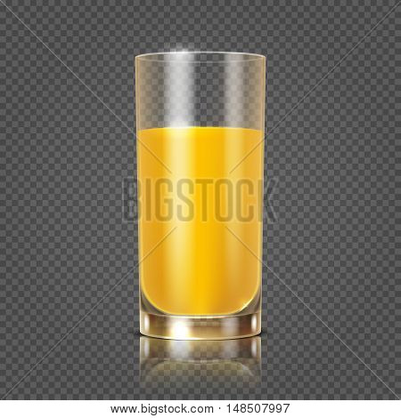 Orange juice in glass vector illustration. Useful drink in glossy tableware