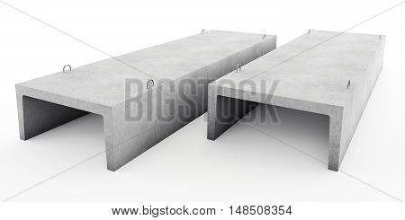 Reinforced concrete tray for heating main. 3D rendering