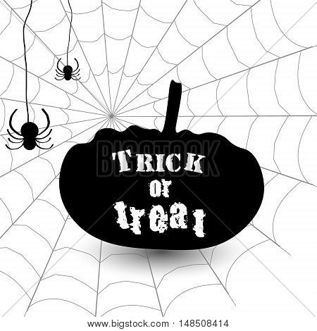 Trick or treat happy halloween vector graphic illustration of a poster of white background cobweb spiders sign pumpkin outline shadow