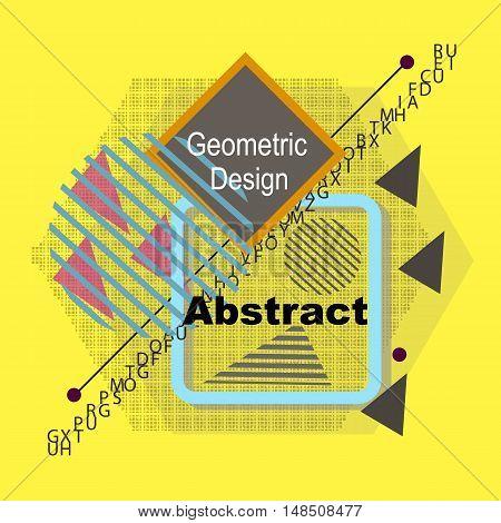 Abstract Composition. Minimalistic Fashion Backdrop Design. Triangle Brand Logo Icon. Yellow Font Te