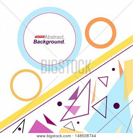 Abstract Concept. Minimalistic Fashion Backdrop Design. Patch Flying Triangles Icon. Yellow Line Fon